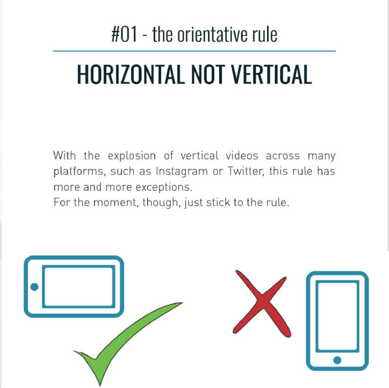 It shows the first rule of mobile video:horizontal not vertical filming - first rule of mobile videomaking